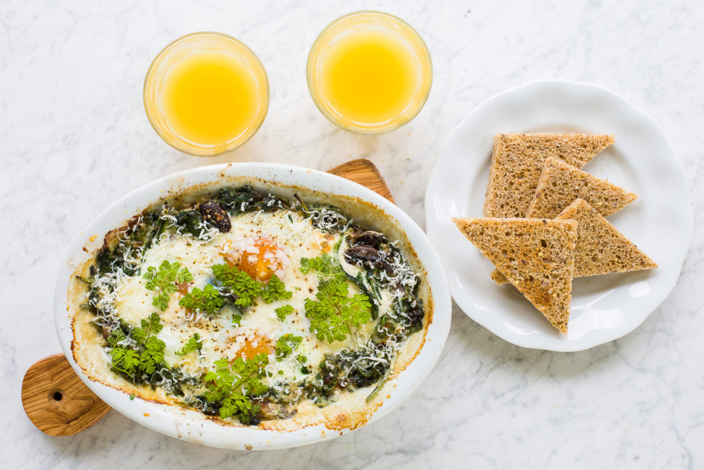 Baked Eggs with Spinach and Mushrooms - The Gardener Cook